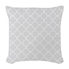Light Grey Quatrefoil Pattern Woven Throw Pillow
