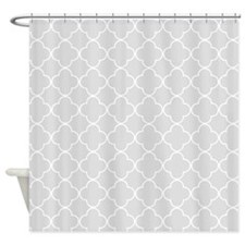 Light Grey Quatrefoil Pattern Shower Curtain