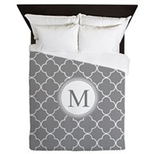 Dark Grey Quatrefoil Monogram Queen Duvet