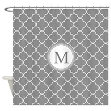 Dark Grey Quatrefoil Monogram Shower Curtain