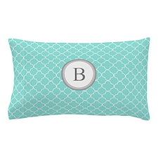 Aqua Quatrefoil Monogram Pillow Case
