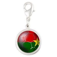 Burkina Faso Football Silver Round Charm