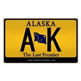 Alaska License Plate Sticker - AK (Rectangular)