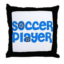 Blue Soccer Design Throw Pillow