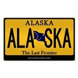 Alaska License Plate Sticker - Alaska (Rectangular