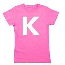 Letter K White Girl's Tee