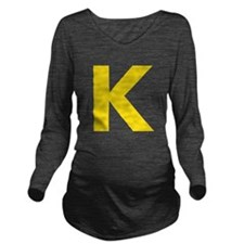 Letter K Yellow Long Sleeve Maternity T-Shirt