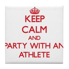 Keep Calm and Party With an Athlete Tile Coaster