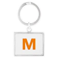 Letter M Orange Keychains