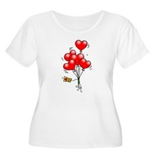 Valentines Day Heart Balloons Plus Size T-Shirt