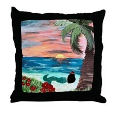 Aloha Mermaid Art Throw Pillow