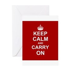 Keep Calm and Carry On - red Greeting Cards