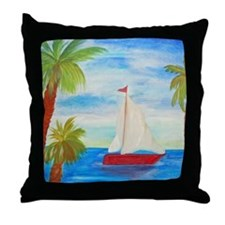 Red Sailboat art Throw Pillow