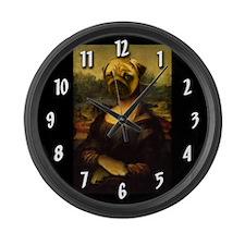 Mona Lisa Pug Large Wall Clock