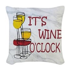 Wine O'Clock Woven Throw Pillow