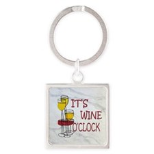 Wine O'Clock Square Keychain