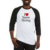 """I Love (Heart) Snow Skiing"" Baseball Jersey"