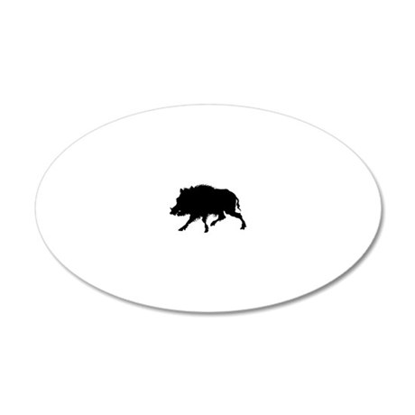 Wild Boar Running Wild 20x12 Oval Wall Decal