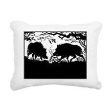 Wild Boar in a Forest Rectangular Canvas Pillow