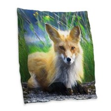 Red Fox Burlap Throw Pillow