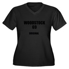 Woodstock Or Women's Plus Size V-Neck Dark T-Shirt