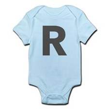 Letter R Dark Gray Body Suit