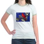 Northern Cardinal Bird Jr. Ringer T-Shirt