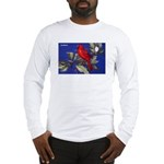 Northern Cardinal Bird (Front) Long Sleeve T-Shirt