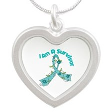 Ovarian Cancer SURVIVOR Silver Heart Necklace