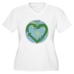 Recycle Earth (Heart) Women's Plus Size V-Neck T-S