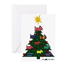 SCOTTISH TERRIER CHRISTMAS TREE Greeting Cards (Pa