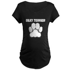 Silky Terrier Distressed Paw Print Maternity T-Shi
