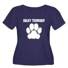 Silky Terrier Distressed Paw Print Plus Size T-Shi
