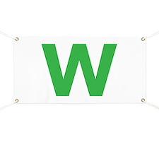 Letter W Green Banner