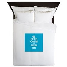 Keep Calm and Swim on Queen Duvet