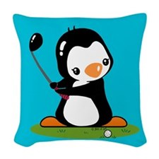 Golf Penguin Woven Throw Pillow