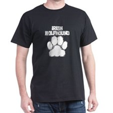 Irish Wolfhound Distressed Paw Print T-Shirt