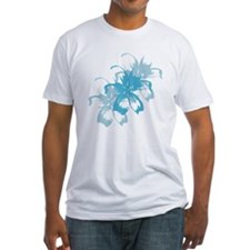 Aqua Blue Tropical Floral T-Shirt