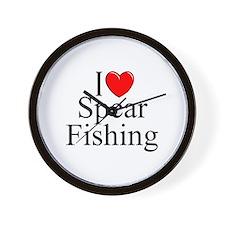 """I Love (Heart) Spear Fishing"" Wall Clock"