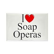 """I Love (Heart) Soap Operas"" Rectangle Magnet"