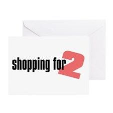 Shopping for Two, Girl Greeting Cards (Package of