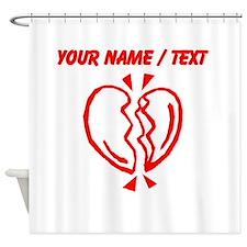 Custom Red Broken Heart Shower Curtain