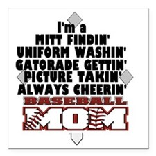 "Baseball Mom Square Car Magnet 3"" x 3"""