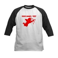 Custom Red Cupid Silhouette Baseball Jersey