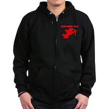 Custom Red Cupid Silhouette Zip Hoodie