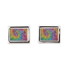 rainbow aura twirl tiedye pattern Cufflinks