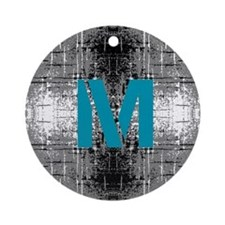 Teal Monogram Industrial Style Ornament (Round)