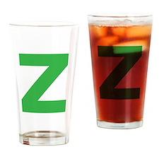 Letter Z Green Drinking Glass