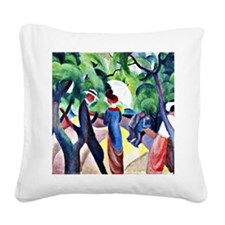 August Macke - Promenade Square Canvas Pillow