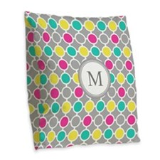 Pink Yellow Circles Monogram B Burlap Throw Pillow